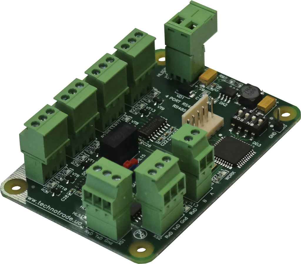 RS485-4 interface converter PCB board with terminal blocks