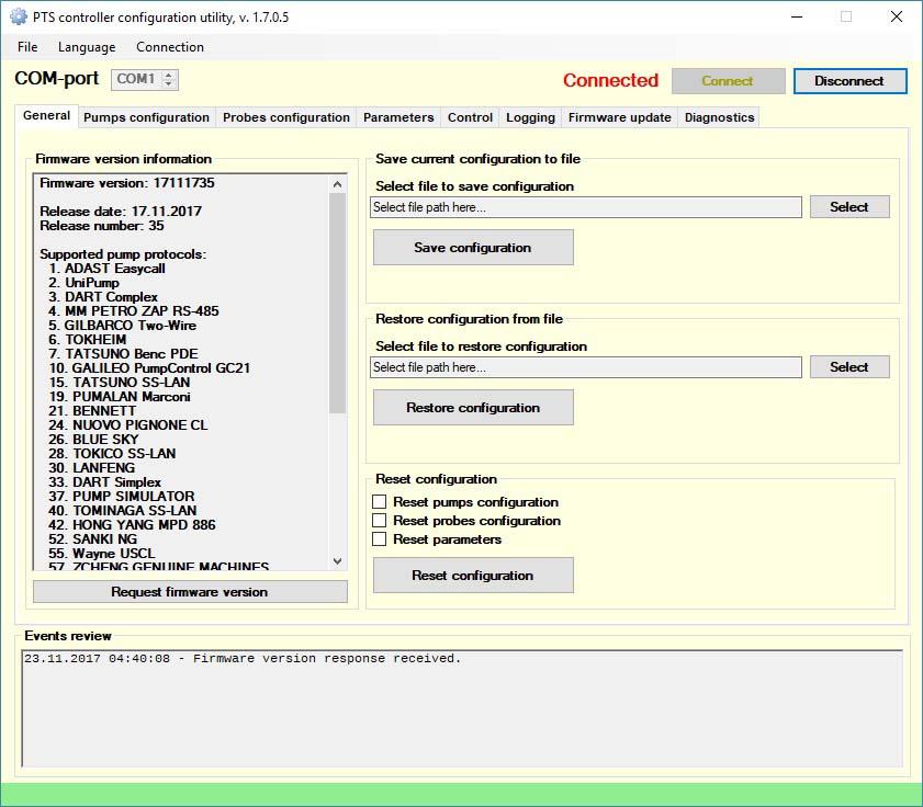 PTS-1 controller diagnostics