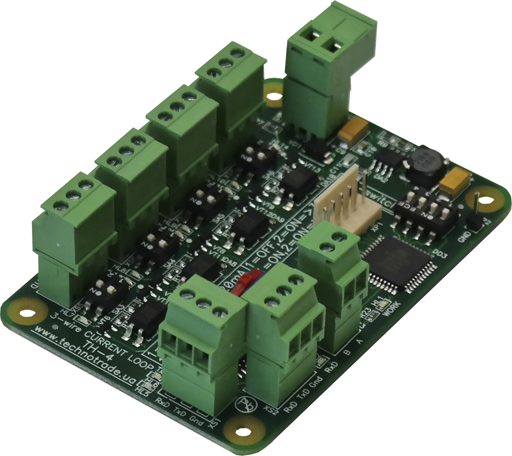 TH-4 interface converter PCB board with terminal blocks