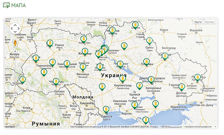 Интерактивная карта сети АЗС
