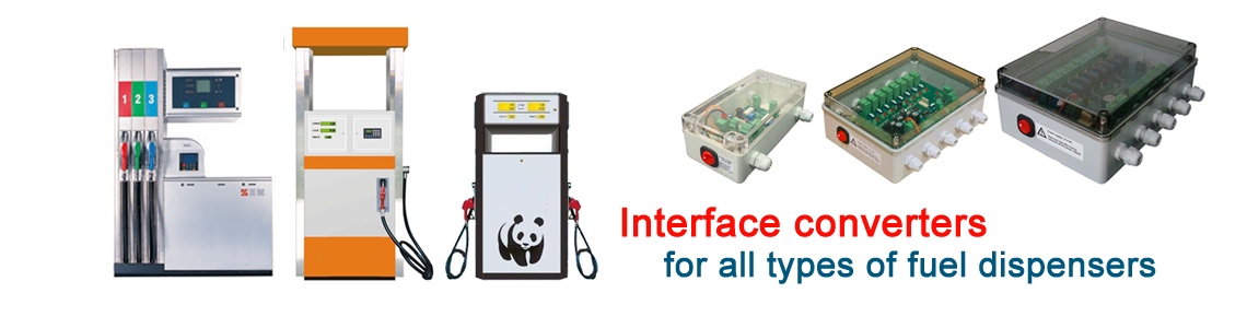 Interface converters and forecourt controllers for fuel dispensers for petrol stations