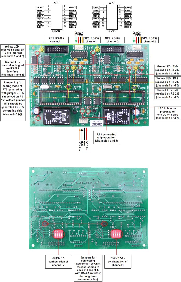 RS-232 to RS-485 interface converter (RS-232 to RS-485 and backwards)