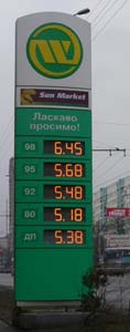 Price board for petrol stations