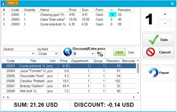 NaftaPOS software sales window